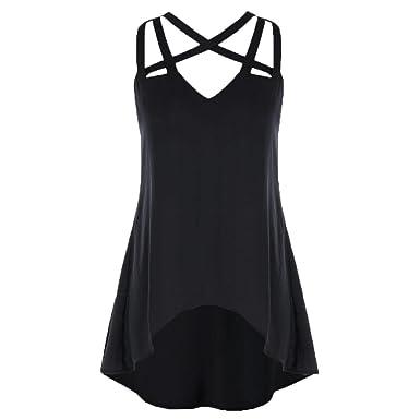 3ee1e2b5c58 Amazon.com: Caopixx Women Tops Plus Size, Ladies V Collar Cross Rope  Pullover Tops Blouse Casual Sleeveless Vest Tank: Clothing
