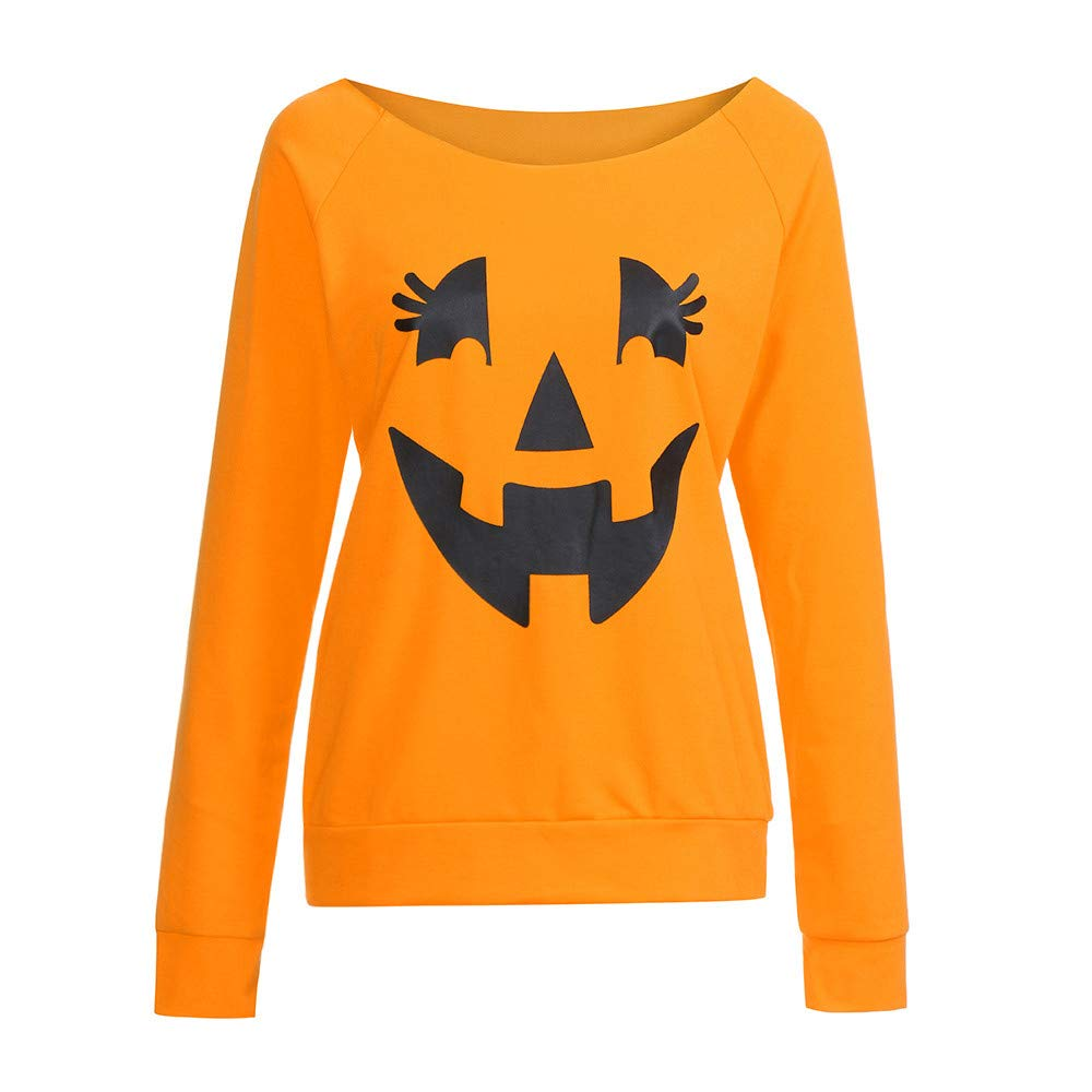 Amazon.com: Jiayit Womens 2018 Casual Long Sleeve Halloween Pumpkin Face T-Shirt Sweatshirt: Clothing