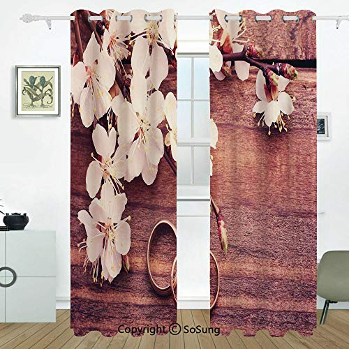 (Wedding Decorations Grommet Blackout Window,Flowering Branch Delicate Rings on Wooden Surface Rustic Effect,for Bedroom&Living Room&Patio Sliding Doors,2 Panels Set,108 X 63 Inches,Brown White Gold)