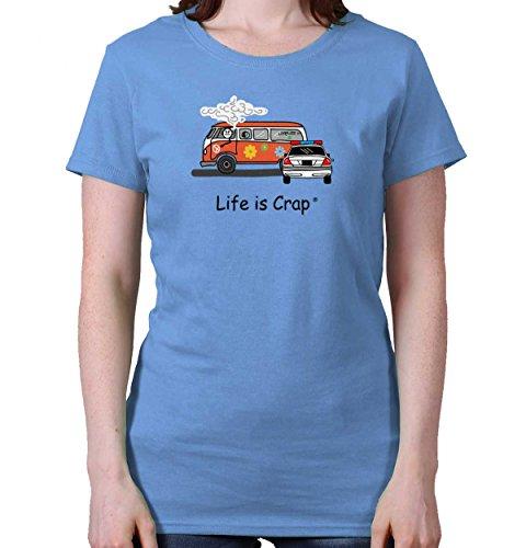 Life is Crap Hippy Van Funny Shirt | Weed Gift Idea 420 Joint Ladies T-Shirt (Van Hippy)