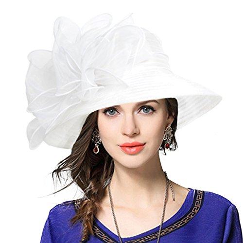 Lady Derby Dress Church Cloche Hat Bow Bucket Wedding Bowler Hats (White, Medium)