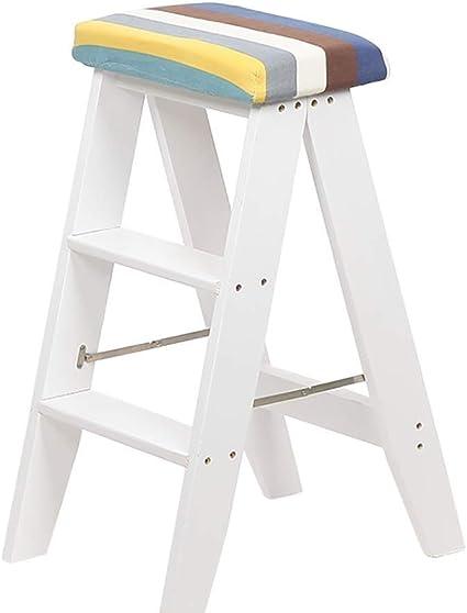 Práctica escalera de taburete alto de bar, taburete de 3 pasos de madera de soild, taburete de escalera de banco plegable para cocina, silla de desayuno blanca, extraíble y lavable KADJ: Amazon.es: