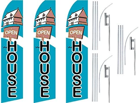 3 Swooper Flutter Feather Flags plus 3 Poles /& Ground Spikes OPEN HOUSE House Blue Black Brown