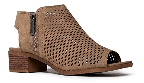 J. Adams Comfortable Perforated Flat Bootie – Casual Open Toe Low Stacked Heel - Cut Out Side Zipper Shoe - Tracy