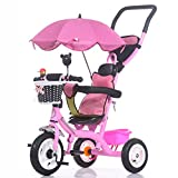 Children Tricycle Bicycle 1-3-5 Years Old Trolley Baby Carriage Child Bike Trike Kids 3 Wheels (Color : Pink)