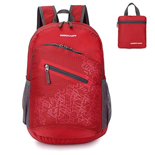 Unisexs Travel Hiking Backpack Waterproof Material (Rose red) - 5
