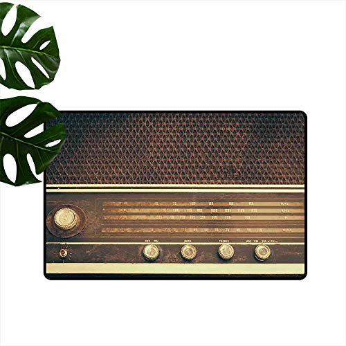 (Vintage,All Weather Door Mats Old Antique Retro 60s Style Radio Music Player Loudspeakers Buttons Image Entrance Rugs W 31