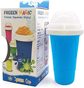 Quick Frozen Smoothies Cup Cooling Cup Slushy Ice Cream Maker Slushy Maker, Homemade Milk Shake Maker Cooling Cup Squee, DIY it for Children and Family (Blue)