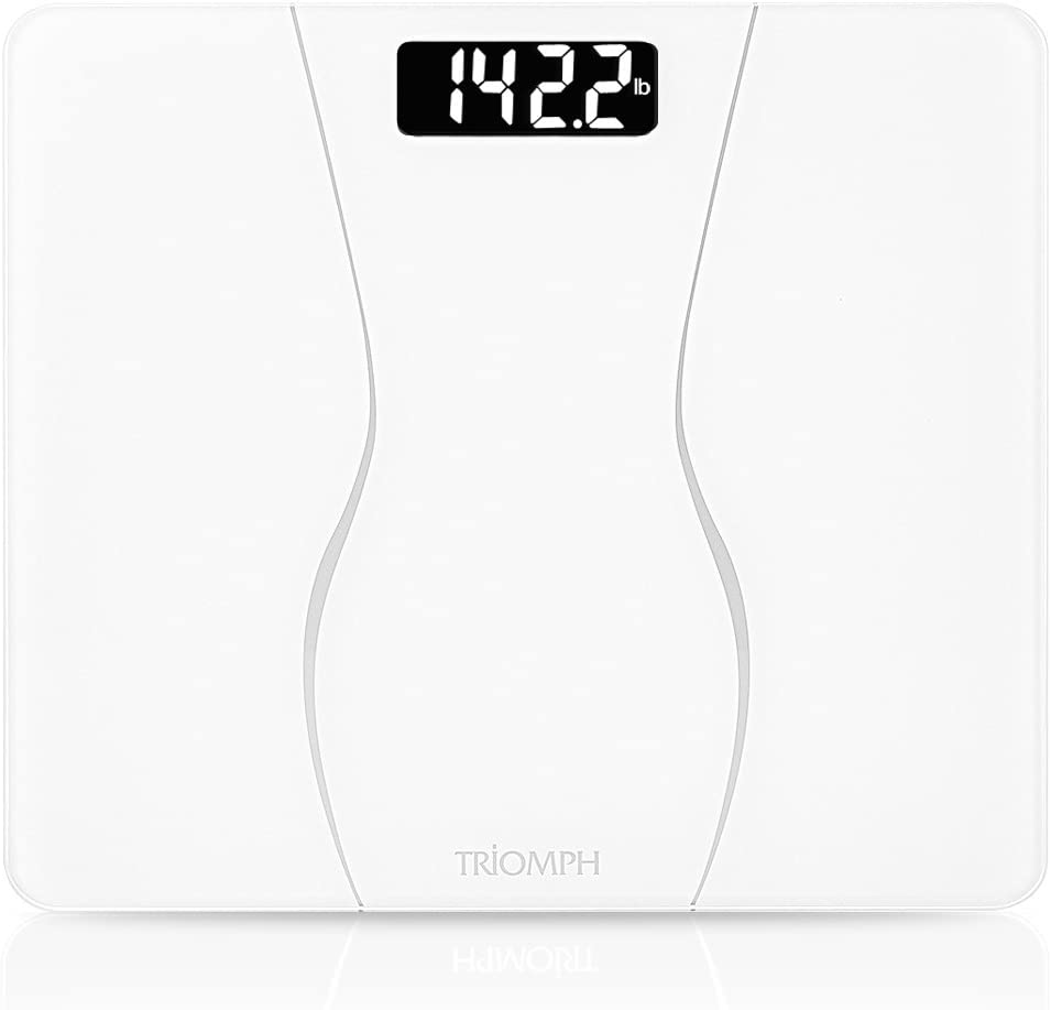 Triomph Smart Digital Body Weight Bathroom Scale with Backlit Shine Through Display, 400 lbs Capacity and Accurate Weight Measurements (White)