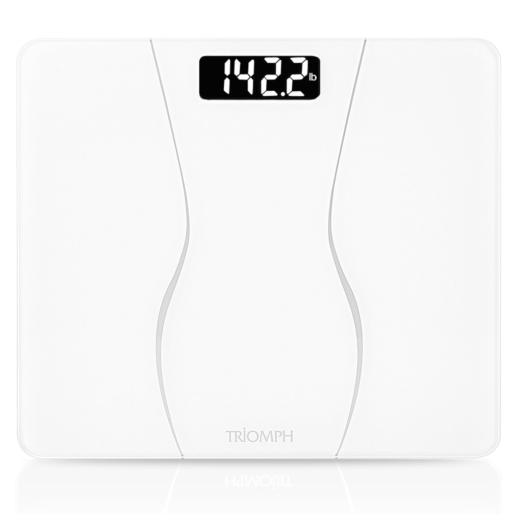 Triomph Digital Body Weight Bathroom Scale Weighing Scale with Smart Step-on Technology, Large Platform, 400 Pounds Capacity, Black TRSC19