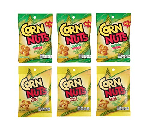 Corn Nuts Spicy Pack 4oz Size - 3 of Each Flavor, Chile Picante and Jalapeno Cheddar (Pack of ()