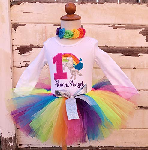 79e5775ac464 Image Unavailable. Image not available for. Color: Bright Unicorn Rainbow 1st  Birthday Tutu Outfit- ...