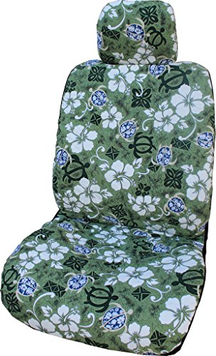 Winnie Fashion Set of 2 - Side Airbag Compatible; Hawaiian Green Aloha Hibiscus Separate Headrest Car Seat (Hibiscus Car Seat Cover)