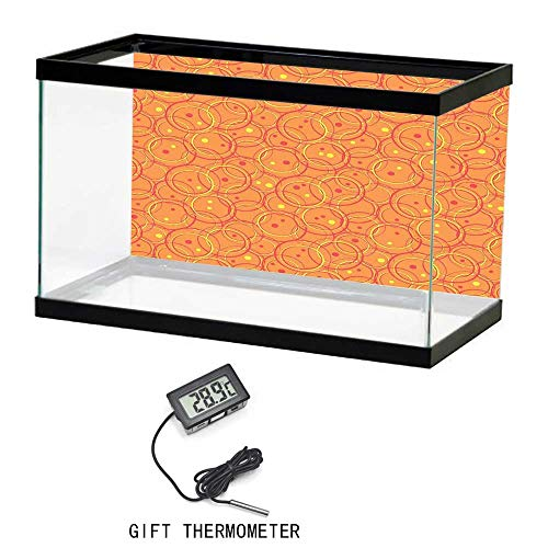 - Aquarium Poster,Burnt Orange,Circle Patterns in Fashion Trend Colors on Retro Dotted Background Decorative,Orange Yellow,24