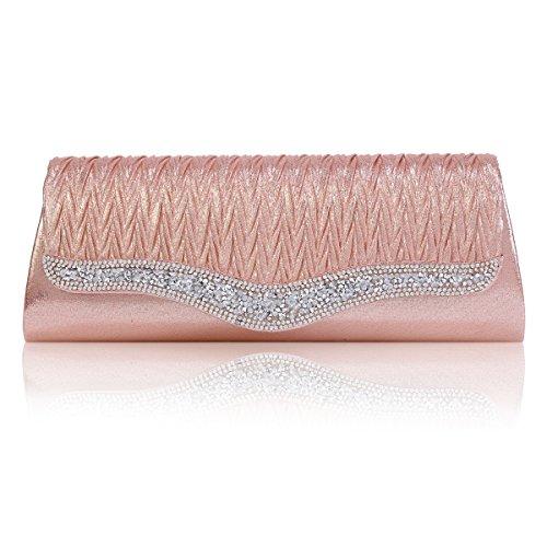 Femme Magnétique Soirée De pink Strass Bouton Sac Elégant Damara Plissé 6a0wd6q