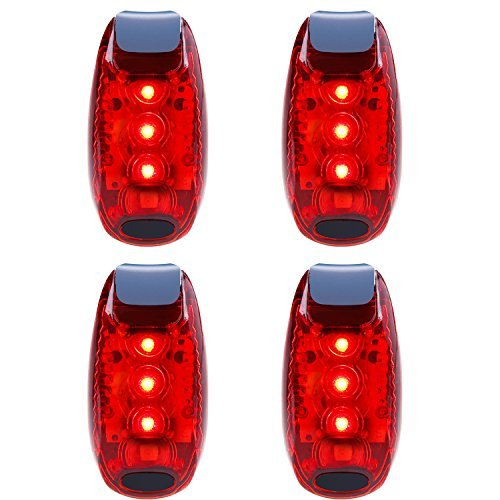 UOKOO LED Safety Light (4 Pack) Refun Waterproof Red Flashing Bike Rear Tail Light with Free Clip on Velcro Straps for Running, Walking, Cycling, Helmet etc