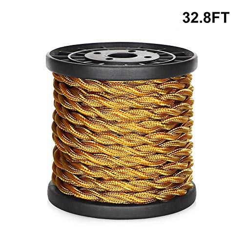 [UL Listed] 32.8ft Twisted Cloth Covered Wire, Carry360 Antique Industrial Electronic Wire, 18-Gauge 2-Conductor Vintage Style Fabric Lamp/Pendant Cloth Cord Cable (Dark Golden) ()