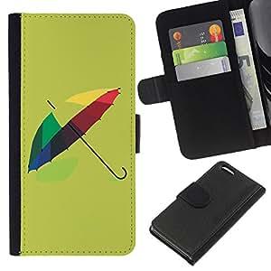 BearCase / Cuero de la tarjeta la carpeta del tirón Smartphone Slots Protección Holder /// Apple Iphone 5C /// Diseño paraguas colorido