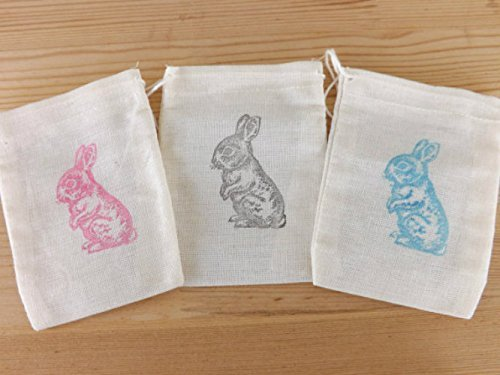 baby shower favor bags muslin hand stamped favor bags peter rabbit bunny