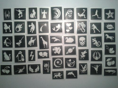 50 stencils for glitter tattoos / airbrush / face painting / henna for girls boys (Boy Tattoo Kit)