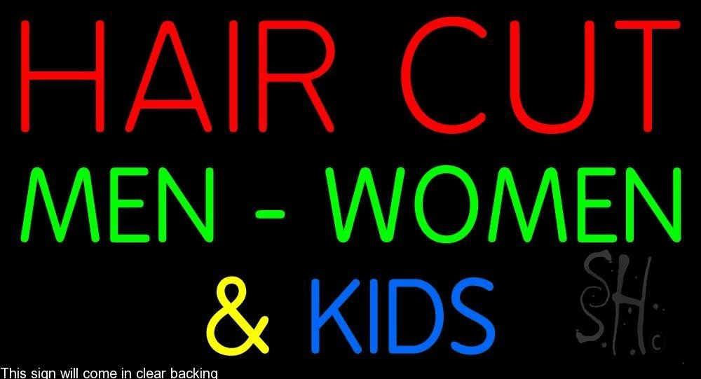 Haircut Men Women And Kids Clear Backing Neon Sign 20'' Tall x 37'' Wide by The Sign Store