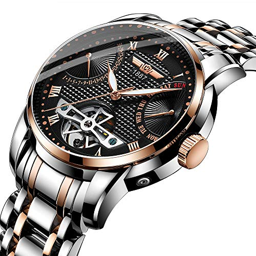 Haiqin Mechanical Watches Analog Tourbillon Automatic Watch for MenWaterproof Stainless Steel Wristwatch (Rose ()