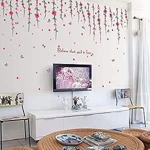 ملصقات الحائط القابلة للإزالة DIY لديكور غرفة المعيشة - كرمة رومانسية
