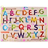 Elloapic Pen Driving Maze Puzzle Interactive Maze Leading Beads Maze on Board Game Eduactional Handcraft Toys-Square - Alphabet ABC Letter Word