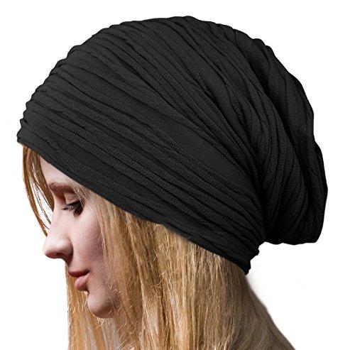 BLACK Winter Ski Women's Beret Baggy Beanie Oversize Slouchy Chic Hat Cap Skull
