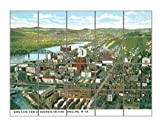 View Of Business Section, Wheeling, Va Horizontal Tile Mural Satin Finish 24''Hx30''W 6 Inch Tile