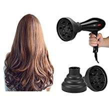 Collapsible Hair Dryer Diffuser, Foldable Hair Blow Dryer Diffuser Professional Hairdressing Salon Accessory Curling Wave Drying Tools (Black)