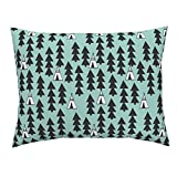 Roostery Tipi Teepee Mint Nursery Baby Triangle Euro Knife Edge Pillow Sham Tipi Trees Teepee Southwest by Andrea Lauren 100% Cotton Sateen
