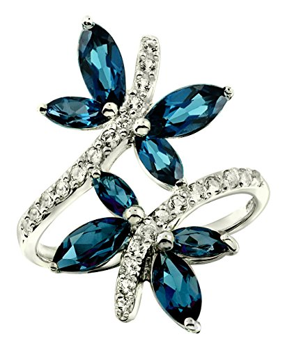RB Gems Sterling Silver 925 Ring GENUINE GEMSTONE DRAGONFLY Design with Rhodium-Plated Finish (10, london-blue-topaz) (Plated Blue Topaz Ring Silver)