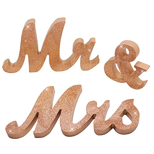 (senover Mr and Mrs Sign Wedding Sweetheart Table Decorations,Mr and Mrs Letters Decorative Letters for Wedding Photo Props Party Banner Decoration,Wedding Shower Gift (Rose Gold Glitter) )
