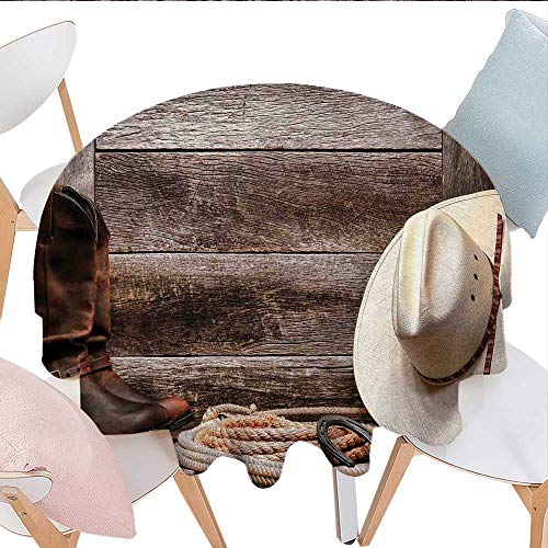 longbuyer Western Decor Round Outdoor Tablecloth American West Rodeo White Straw Cowboy Hat with Lariat Leather Boots on Rustic Barn Wood Outdoor Tablecloth 60