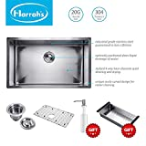Harrahs 32 Inch 11-gauge 3mm Thickness Lips Easy Drain Stainless Steel Single Bowl Kitchen Sink with Solid Bottom Grid, Vegetable Basket, Soap Dispenser and Sink Strainer Bar Undermount