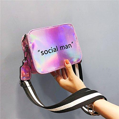 Adjustable Stripe Bag Shoulder Pink Anqeeso Women Crossbody Wide Strap Laser Bags PU dqwcZUwEx
