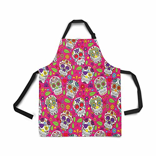 INTERESTPRINT Adjustable Bib Apron for Women Men Girls Chef with Pockets, Day of The Dead Sugar Skull Dia De Los Muertos Novelty Kitchen Apron for Cooking Baking Gardening Pet Grooming Cleaning -