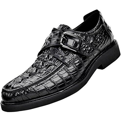 Hommes Modèle Crocodile Imitation Chaussures Derby Mode Affaires Chaussures De Sport Noir