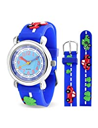 Bling Jewelry Blue Cars Trucks Kids Watch Photo Dial Stainless Steel Back