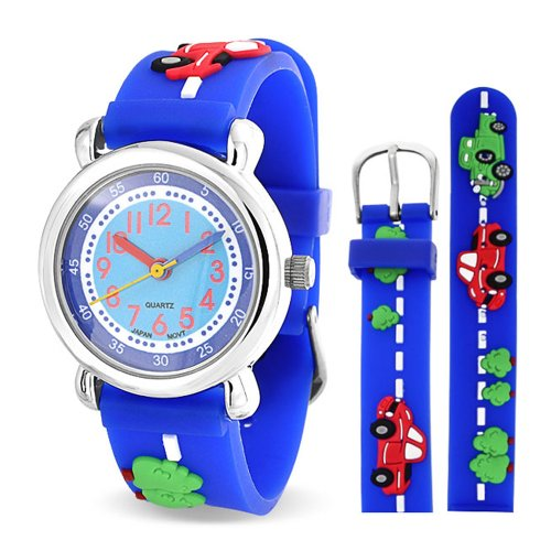 Blue Dial Jewelry (Bling Jewelry Blue Cars Trucks Kids Watch Photo Dial Stainless Steel)