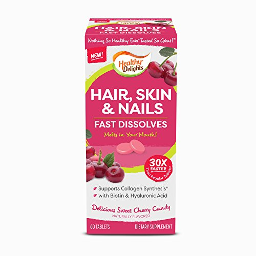 Healthy Delights, Hair, Skin & Nails, Cheery Flavor Fast Dissolves, Naturally Flavored, Supporting Collagen Synthesis, Packed with Biotin & Hyaluronic Acid, 60 Count