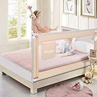 70 Inches Bed Rail for Toddlers Fold Down Safety Baby Bed Guard Swing Down Bedrail for Convertible Crib, Kids Twin, Double, Full Size Queen & King Mattress, Beige [Upgraded] (1 Pack)