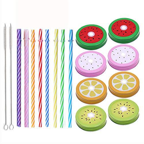 - Metal Decorative Regular Mouth Mason Jar Lids with Straw Hole (18pcs) 8 Decoration Lids ,8 Striped Plastic Straw Set,2 Straw Wrench