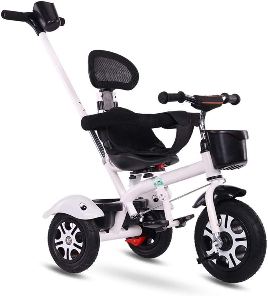 XMIMI Triciclo, Triciclo para niños   Triciclo para niños   2 en 1 actualizado   Los niños montan en Triciclo con Canasta   Negro   Rosa   Verde   Blanco