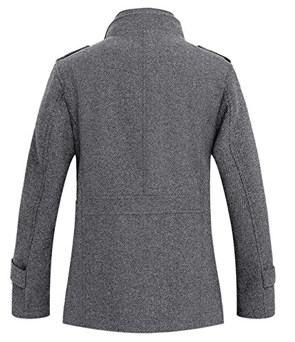 Review Chouyatou Men's Winter Stylish Wool Blend Single Breasted Military Peacoat (XX-Large, Gray)