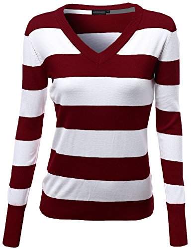 Awesome21 Basic V Neck Stripe Pull Over Knit Sweaters Burgundy Size L