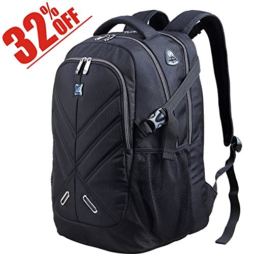 Backpack for Men and Women Fit 17 Inches All 15.6 Inches Laptops Waterproof Shockproof OUTJOY School bag Travel Bag Book bag Business Work Daypack Black