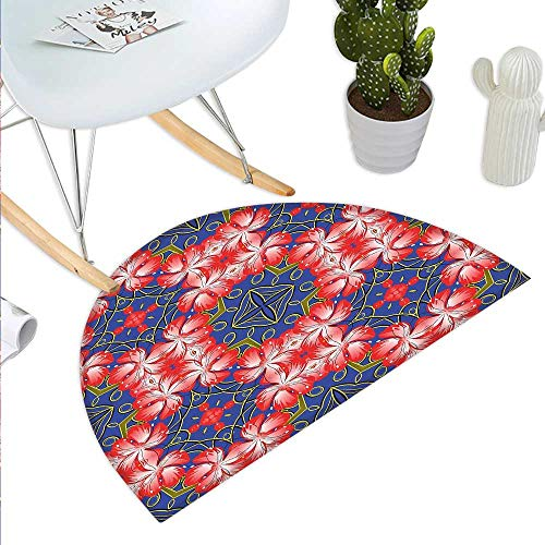 Memory Shaped Rubber Bands (Floral Semicircular CushionBlooms Pattern on Diamond Shaped Bands Vibrant Flowers Glamour Beauty Print Entry Door Mat H 51.1