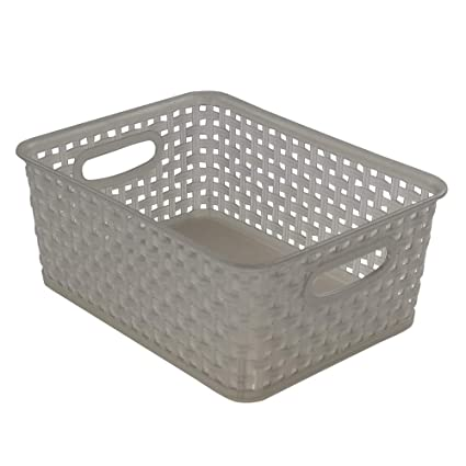Jekiyo Grey Plastic Pantry Storage Baskets/ Bins, 4 Pack